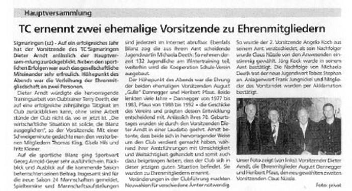August Dannegger Heribert Pfaus Ehrenmitglied Tennisclub Sigmaringen