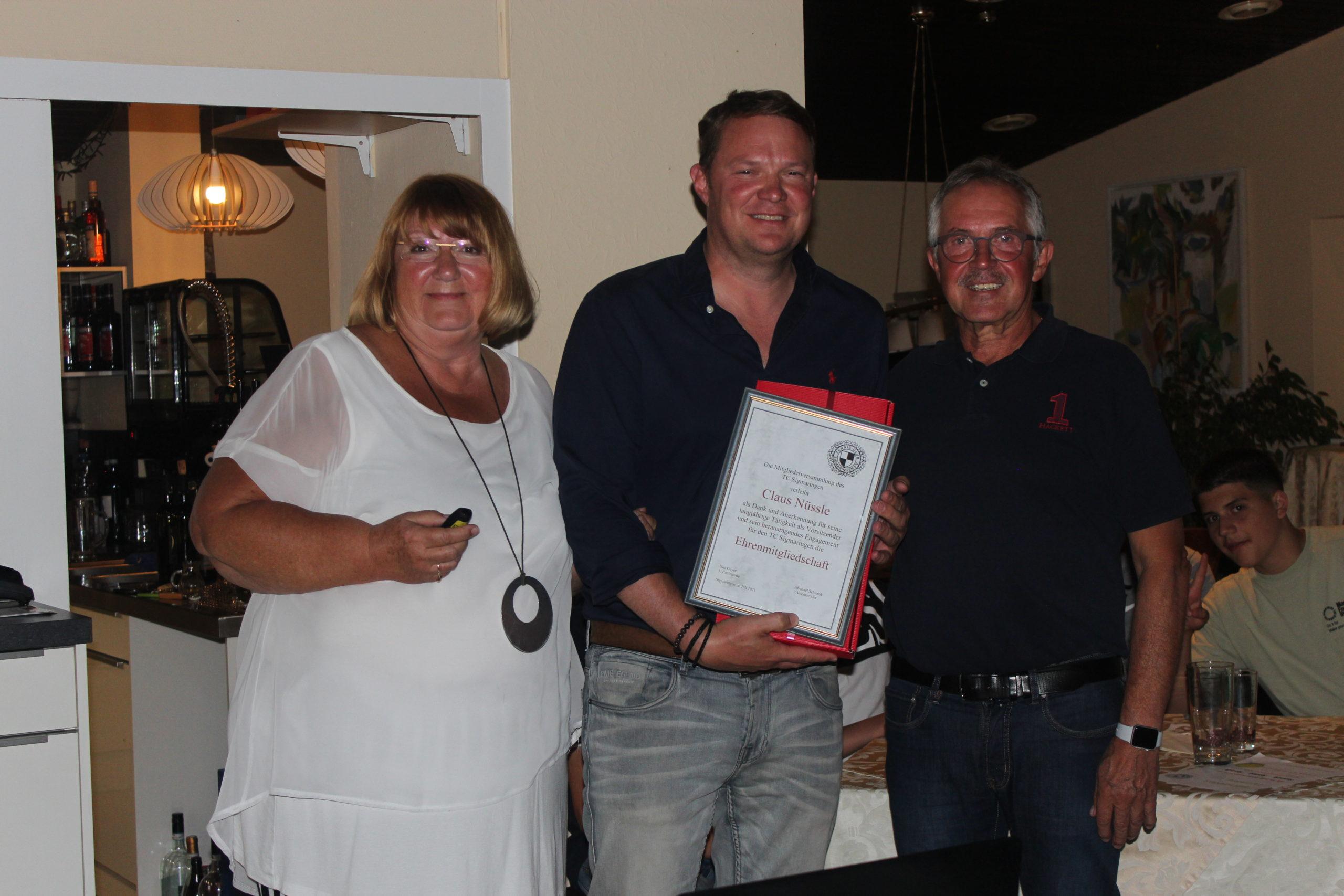 Dieter Arndt Ehrenmitglied Tennisclub Sigmaringen